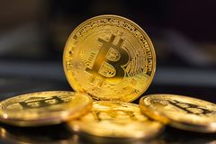 Bitcoin coins on dark background royalty free stock photography