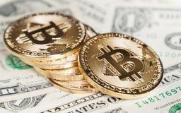 Bitcoin coins on dollar Stock Image