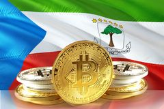 Bitcoin coins on Equatorial Guinea Flag, , Digital money concept photo stock photography
