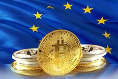 Bitcoin coins on EU Flag, Cryptocurrency, Digital money concept. Photo stock photos