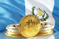 Bitcoin coins on Guatemala Flag, Cryptocurrency, Digital money concept. Photo stock images