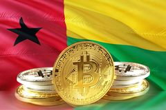 Bitcoin coins on Guiné-Bissau Flag, , Digital money concept photo royalty free stock images