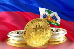 Bitcoin coins on Haiti Flag, Cryptocurrency, Digital money concept. Photo royalty free stock image