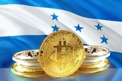 Bitcoin coins on Honduras Flag, Cryptocurrency, Digital money concept. Photo stock images
