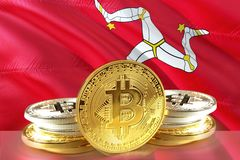 Bitcoin coins on Isle of Man Flag, Cryptocurrency, Digital money concept royalty free stock photo