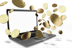 Bitcoin coins jumping off computer, with empty copy space on-screen. Isolated on white - ENTER YOUR OWN TEXT. 3D illustration Stock Image
