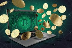 Bitcoin coins jumping off computer, with green BTC symbol on-screen Royalty Free Stock Photography
