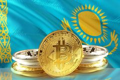 Bitcoin coins on Kazakhstan Flag, Cryptocurrency, Digital money concept stock images