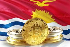 Bitcoin coins on Kiribati Flag, Cryptocurrency, Digital money concept royalty free stock photography
