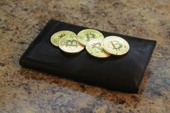 Bitcoin coins with the leather wallet Stock Photography