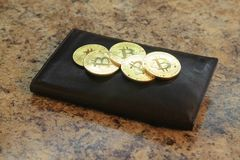 Bitcoin coins with the leather wallet Stock Photos