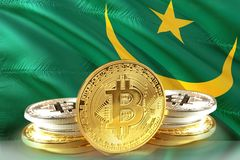 Bitcoin coins on Mauritania Flag, , Digital money concept photo royalty free stock photo