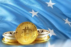 Bitcoin coins on Micronesia Flag, , Digital money concept photo royalty free stock photo