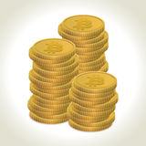 Bitcoin coins. Bitcoin money gold coins with light shadow and background Royalty Free Stock Photos