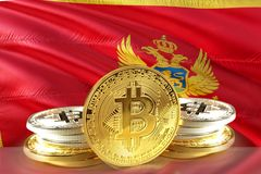 Bitcoin coins on Montenegro Flag, , Digital money concept photo royalty free stock photos