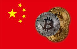 Bitcoin Coins On Red China Flag Royalty Free Stock Photos