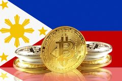 Bitcoin coins on Philippines Flag, Cryptocurrency concept. Photo royalty free illustration