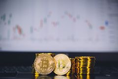 Bitcoin coins pile and two bit coins sitting in front with candle stick graph chart digital background. Concept of Bitcoin and virtual currency and blockchain Stock Photo