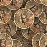 Bitcoin coins seamless background. Bitcoin golden coins seamless background. Vector illustration Royalty Free Stock Photos