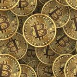 Bitcoin coins seamless background. Bitcoin golden coins seamless background. Vector illustration Stock Image