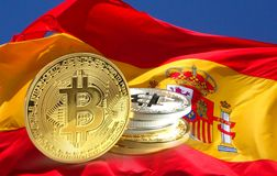 Bitcoin coins on Spain flag,. Cryptocurrency for concept photo use stock photos