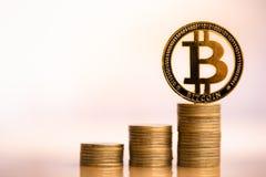 Bitcoin on coins stack. stock photos