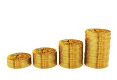 Bitcoin coins stack step up, money growing and financial investment concept Royalty Free Stock Photography