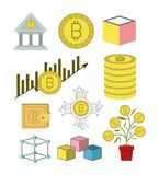 Bitcoin colorful icons of investment and economic growing. Vector illustration Royalty Free Illustration