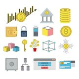 Bitcoin colorful icons of secure investment. Vector illustration Stock Illustration