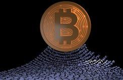 Bitcoin com conceito do blockchain Corrente das carteiras ilustração 3D Fotografia de Stock Royalty Free