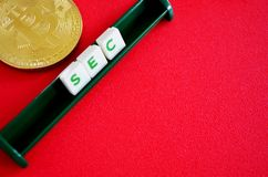 Bitcoin com letras do segundo foto de stock royalty free