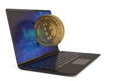 Bitcoin com o laptop na ilustração branca do fundo 3D Ilustração Royalty Free