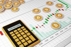 Bitcoin Commerci di scambio di Cryptocurrency Programma commerciale royalty illustrazione gratis