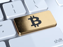 Bitcoin computer keyboard button. Golden bitcoin computer keyboard button key. 3d rendering illustration Stock Images