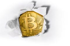 Bitcoin con carta Fotografia Stock Libera da Diritti
