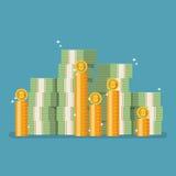 Bitcoin con denaro contante nello stile piano Fotografia Stock