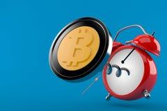 Bitcoin con el despertador Ilustración del Vector