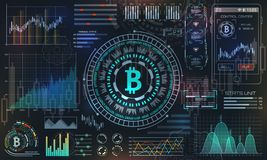 Bitcoin con HUD Elements, BTC, moneda del pedazo, dinero virtual, moneda Crypto ilustración del vector