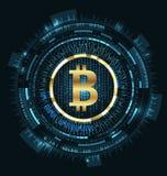 Bitcoin con HUD Elements Moneda del pedazo, BTC, Pedazo-moneda, moneda de Digitaces Cryptocurrency ilustración del vector