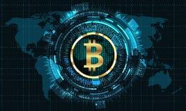 Bitcoin con HUD Elements Moneda del pedazo, BTC, Pedazo-moneda, moneda de Digitaces Cryptocurrency stock de ilustración