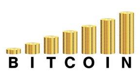 Bitcoin con il logo del grafico della moneta su un fondo bianco Fotografia Stock Libera da Diritti