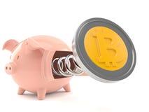 Bitcoin con il porcellino salvadanaio Fotografie Stock