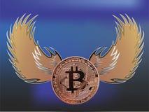 Bitcoin con le ali di angelo Fotografia Stock Libera da Diritti