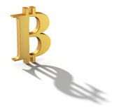 Bitcoin con un'ombra ha modellato come segno di valuta del dollaro Fotografie Stock Libere da Diritti