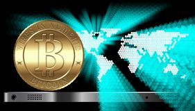 Bitcoin Concept. Cryptocurrency coin at the gadget on digital world map background Stock Image