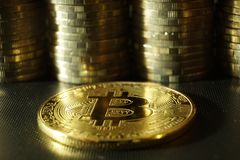 Bitcoin concept, bitcoin stack with other coins background royalty free stock photo