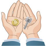 Bitcoin concept - coin and Security Key in hands Stock Photos