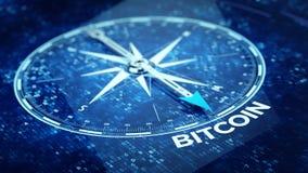 Bitcoin concept - Compass needle pointing Bitcoin word. 3d rendering Stock Photos