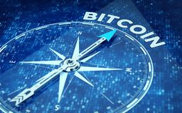Bitcoin concept - Compass needle pointing Bitcoin word. 3d rendering Royalty Free Stock Photography
