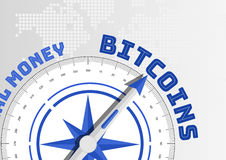 Bitcoin concept with compass pointing towards text stock illustration